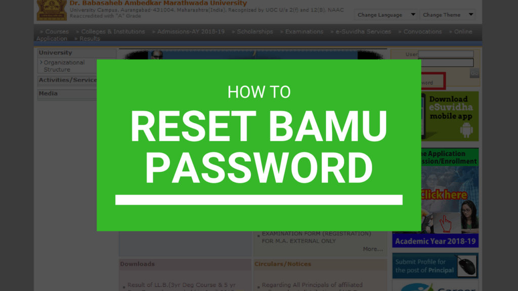 reset bamu password